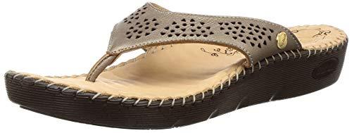 Scholl Women Liza Thong Silver Leather Fashion Slippers-4 UK (37 EU) (6742003)