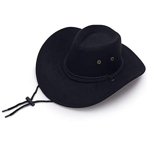 Azly-Caps Chapeaux de Cow-Boy de Velours, Chapeaux réglables de Fedora de Corde de Vent de sertissage pour l'usage Quotidien,Noir