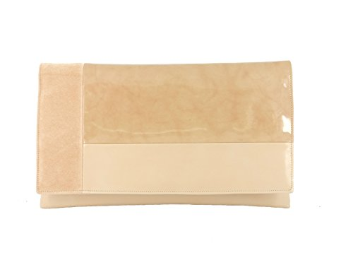 LONI Bolso de mano para mujer de noche, de piel sintética, laca, ante, Beige Nude (Beige) - LONI