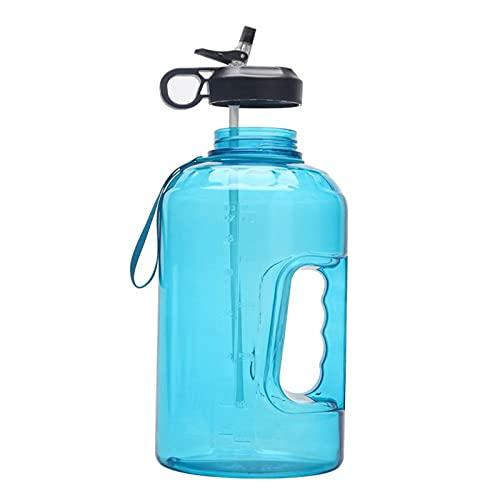 Botellas de agua 3780Ml botella de agua ligera con pajita, botella de plástico transparente, herramienta de fitness, taza deportiva azul claro 26.5X13.6Cm