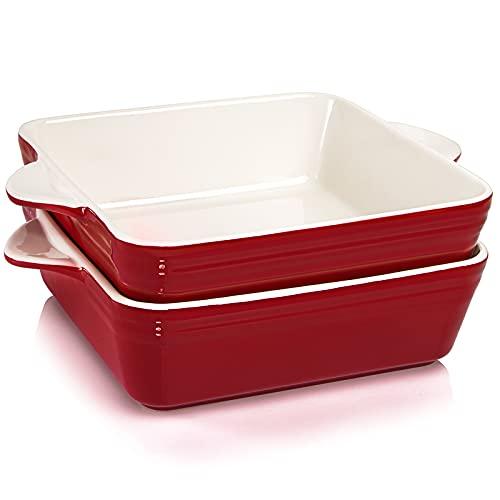 AVLA 2 Pack Ceramic Baking Dish, 11 Inch Porcelain Bakeware Set, Square Lasagna Baking Pan with Double Handle for Dinner (Vintage Red)