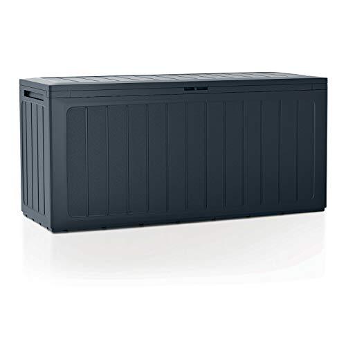 Prosperplast Coffre de jardin 280 litres Boardebox en plastique de couleur anthracite 116 x 43,3 x 55 cm, 280 L