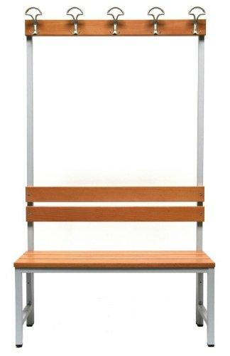 Master of Boards Garderobenbank Sitzbank aus Buchenholz | Umkleidebank einseitig mit Rückwand und Hakenleiste | für Schule, Sport-Verein, Fitnessstudio | Verschiedene Größen (100 cm Breite)