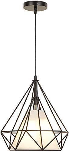 JSXing Luminaria colgante de una luz, The Nordic Modern Retro Industrial Jaula de pájaros de metal Lámpara colgante de...
