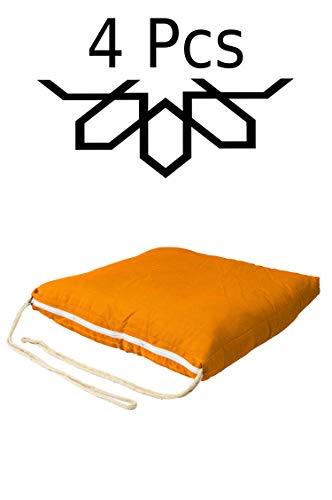 4 er Set Sitzkissen Stuhlkissen mit Schleife 45cm Groß Eckig Orange | Outdoor im Garten als Stuhlauflage oder Indoor als Stuhl Kissen im Wohnzimmer oder Küche | Eckiges Bodenkissen aus Baumwolle