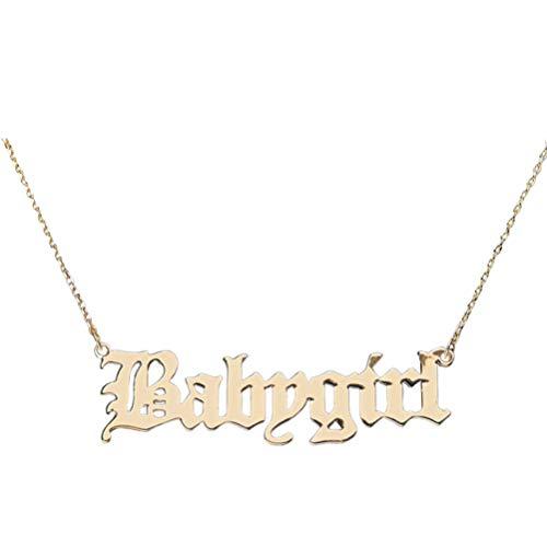Holibanna Babygirl Anhänger Halskette Gold Wörter Legierung Schlüsselbein Kette Choker Halskette für Mädchen Frauen Personalisierte Schmuck Geschenk
