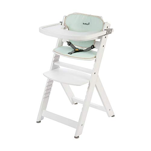 Safety 1st Timba Mitwachsender Hochstuhl und passendes Sitzkissen, inkl. abnehmbares Tischchen, hohe Rückenlehne, ab ca. 6 Monaten bis ca. 10 Jahre (max. 30 kg), Buchenholz, pop hero (weiß)
