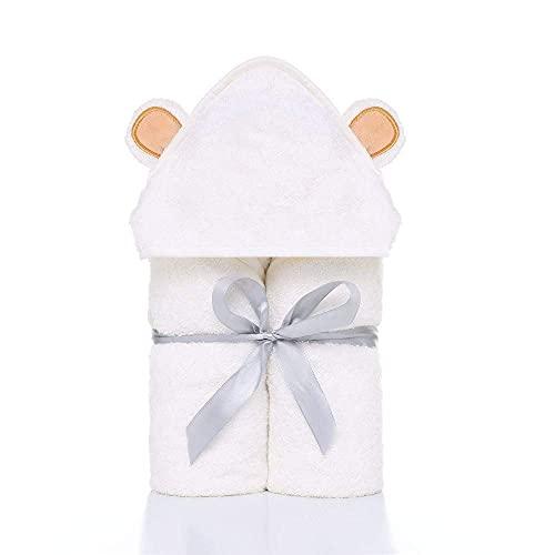 Juego de toallas de bebé con capucha AOOF de fibra hipoalergénica absorbente lindo baño otoño/invierno baño niño super suave capa bebé (amarillo)