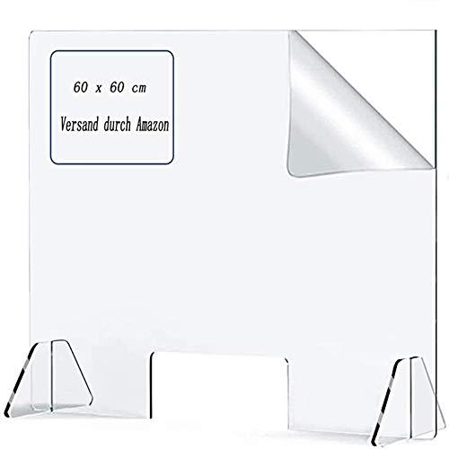 HO.FMA Kantine Esstisch Trennwand Desktop Kreuz Trennwand Student Esstisch Trennwand Anti-Fall Isolation Board Anti-Spuck Plexiglas 60 X 60 cm