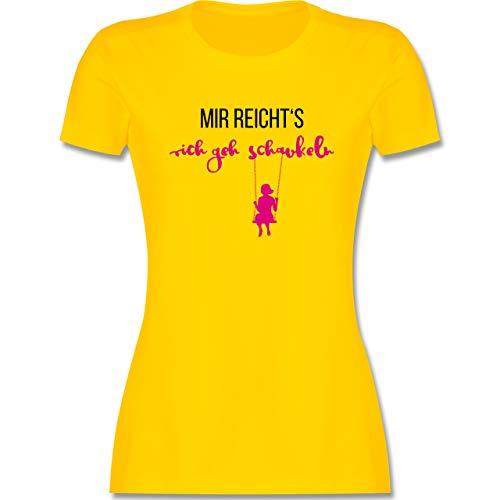 Sprüche - Mir reichts ich GEH schaukeln - M - Gelb - Damen Shirt mit Spruch - L191 - Tailliertes Tshirt für Damen und Frauen T-Shirt