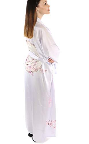 prettystern Damen Boden-lang 100% Seide gemusterter Kimono Morgenmantel Robe Kirschen-Blüte Sakura Silber-grau L05