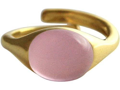Gemshine Damenring 925 Silber, vergoldet oder rose mit Rosenquarz Edelstein - Größenverstellbar - Nachhaltiger qualitätsvoller Schmuck Made in Spain, Metall Farbe:Silber vergoldet