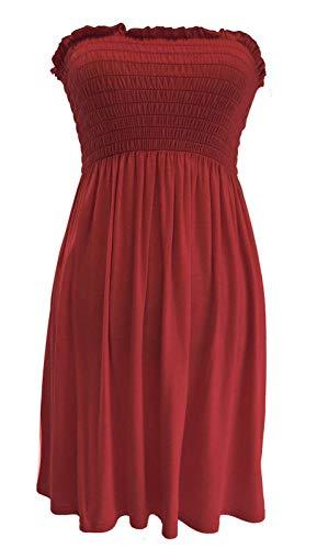 Damenkleid / trägerloses Bandeau-Kleid, Übergröße: Größe 36 - 54. Gr. (34-36), wein