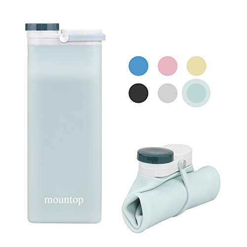 mountop Collapsible Water Bottle, Portable Food Grade Silicone Foldable Travel Reusable Leak Proof Water Bottles for Traveling Running Fitness BPA Free, 20oz, Blue