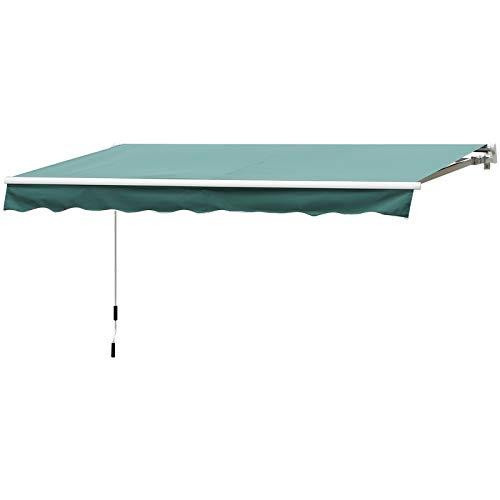 Outsunny Tenda da Sole da Esterno Avvolgibile Impermeabile Verde Scuro 3×2,5m