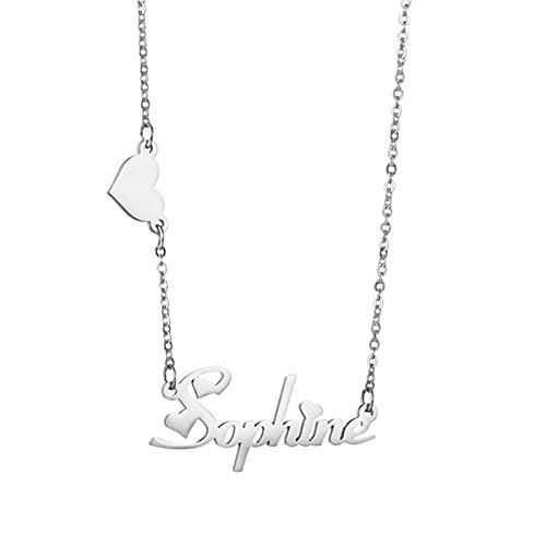 Collana con nome personalizzato Collana con nome in acciaio inossidabile con farfalla e ciondolo con nome Natale per le donne(D'argento 14)
