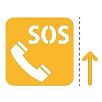 非常電話 SOS 案内 シール ステッカー(矢印付き) カッティングステッカー 光沢タイプ・防水 耐水・屋外耐候3~4年 (黄, 75mm)