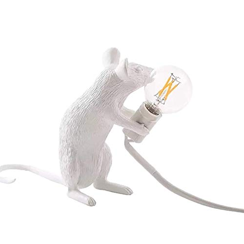Mu Mianhua Lámpara de Mesa Lámpara de Mesa de Resina con Forma de ratón, lámpara de Mesa para la decoración de la cabecera de la habitación del hogar (Color:Sentado, Tama?o:Blanco)