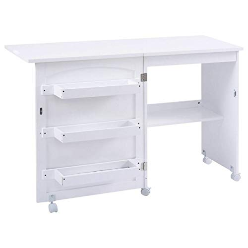 "Giantex Folding Sewing Craft Table, Sewing Craft Cart with Storage Shelves and Lockable Casters Folding Sewing Table for Apartment Small Spaces (White, 46""x16""x31'')"