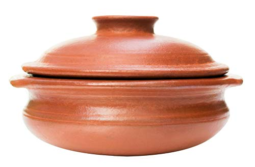 """Craftsman India Online """"Perfection of Pottery Collection"""" Earthen Clay Cookware Pot with Lid for Cooking and Serving (2.5 L, Red)"""