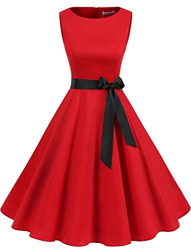 Gardenwed Damen 1950er Vintage Cocktailkleid Rockabilly Retro Schwingen Kleid Faltenrock Red S