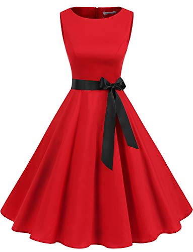 Gardenwed Women's Audrey Hepburn Rockabilly Vintage Dress 1950s Retro Cocktail Swing Party Dress Red 2XL