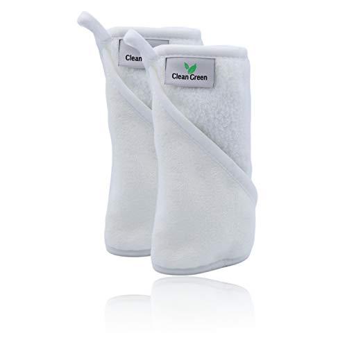Clean Green Mikrofaser Abschminktücher waschbar (2 Stück | Weiß) - Hypoallergenes Make Up Entferner Tuch - Die umweltfreundliche Microfaser Abschminktücher Alternative