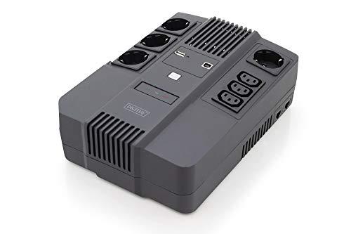 DIGITUS All-in-One Line-Interactive VI USV - 600VA / 360W - AVR - 4 Schutzkontakt-Steckdosen - 3x C13 - Shutdown-Software