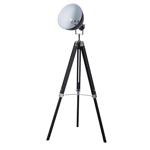 HOMCOM Lampadaire trépied Style Industriel Hauteur réglable Abat-Jour Ajustable E27 40W Max. 65 x 65 x 108-152 cm Bois métal Noir et Blanc