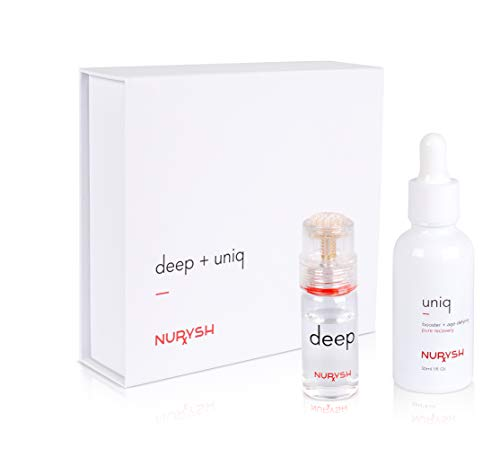 DEEP + UNIQ by Nurysh | 0.25mm Titanium Microneedle/Derma Pen Kit with Hyaluronic Acid & Vitamin C Serum (Not a Derma Roller)