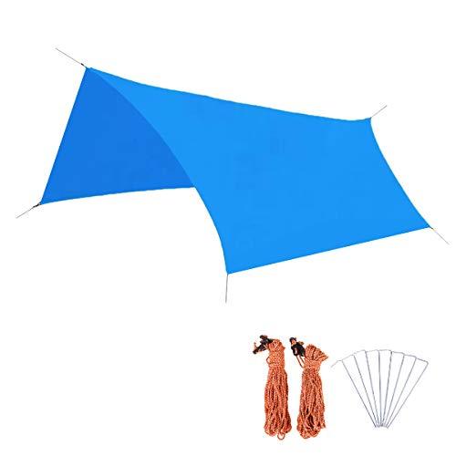 Azarxis Tarp Bâche de Tente Anti-Pluie Abri de Plage Tapis de Sol Camping Couverture Imperméable Toile de Tente pour Hamac Pique-Nique Randonnée (Bleu Ciel, M - 300 x 220 cm)