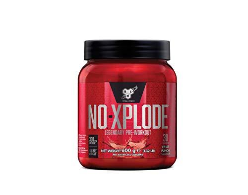 BSN N.O.-Xplode Pre Workout Booster, Energy Drink mit Creatin, Vitamin C, Vitamin D, Vitamin B Komplex, Arginin, Koffein und Beta Alanin, Fruit Punch, 30 Portionen, 600g