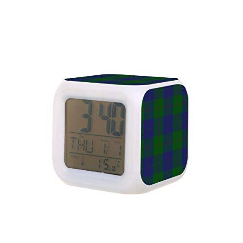 Barclay Tartan LED-Digitalwecker, Kalender, Temperatur, buntes Nachtlicht, Schlafzimmer-Uhr, Schreibtischuhr, batteriebetrieben