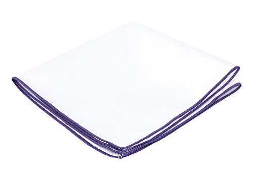 Flairs New York Gentleman's Essentials Weekend Casual White Pocket Square (White / Royal Purple)