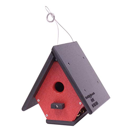 Amish-Made Hanging Wren House, Eco-Friendly Poly-Wood (Black/Bright...