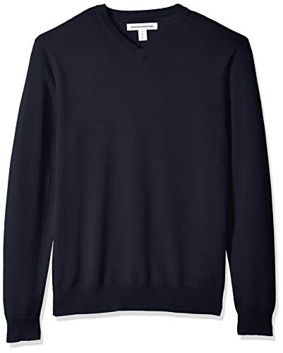 Amazon Essentials Men's V-Neck Sweater, Navy, Large