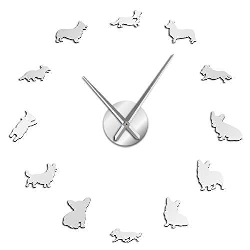 hufeng Reloj de Pared English Welsh Corgi DIY Reloj de Pared Grande Efecto de Espejo Sin Marco Cachorro Razas de Perros Arte de la Pared Tienda de Mascotas Reloj Decorativo Reloj de Pared
