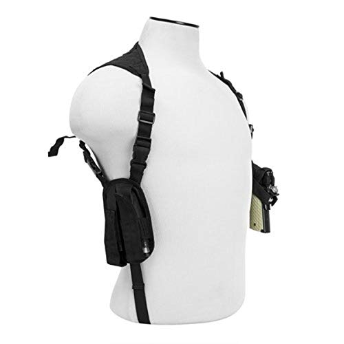VISM by NcStar Ambidextrous Horizontal Shoulder Holster with Double Magazine Holder, Black (CV2909)
