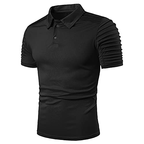 Polo Hombres Manga Corta Slim Fit Color Sólido Botón Placket Hombres Shirt Estiramiento Diseño Moda Verano Hombres Camisa Personalidad Tendencia Negocios Hombres Shirt Ocio C-Black L