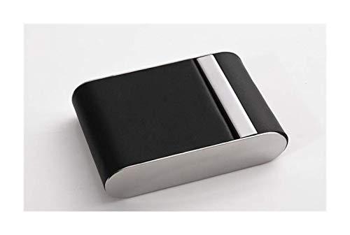 Caja de cigarrillos, cigarrillos caso del tirón del cuero creativo de la caja de cigarrillo del acero inoxidable de los hombres delgados, regalo regalo, Negro, de acceso libre (Color: Negro, Tamaño: 6