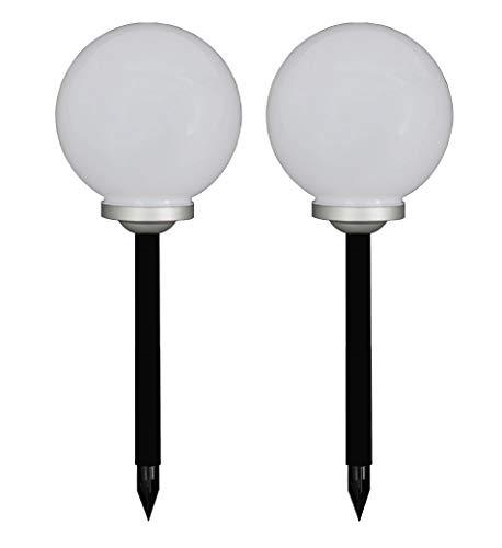 Trango 2er Set LED Solarleuchte 30cm Durchmesser Solarkugel TG-SL30-2 incl. Erdspieß, Solar Außenleuchte, Kugellampe Außen Beleuchtung, Gartenleuchte, Solar Leuchtkugel