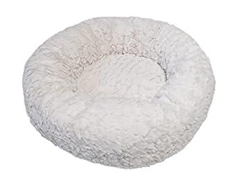 Aime Corbeille Fourrure Ronde pour Chat/Petit Chien Confort Doux Moelleux Coloris Crème Taille S Diamètre 45 cm