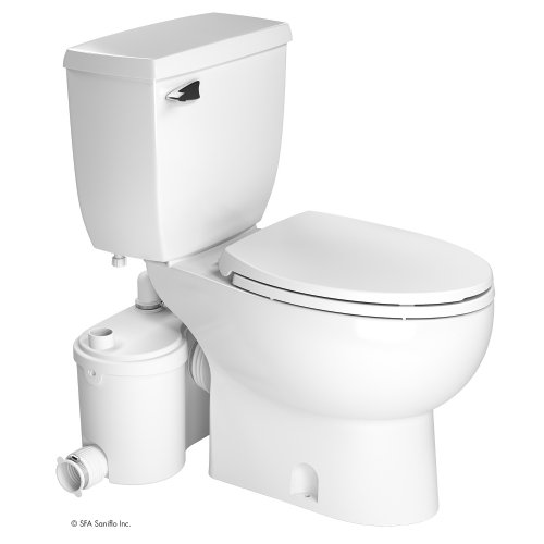 Saniflo 013-087-005-030 Two Piece Elongated Bowl Toilet With Grinder Pump And Extension Pipe, SaniBest Collection, White Finish
