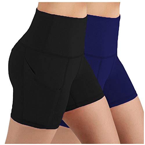 QUNLING 2 pantalones cortos de entrenamiento para mujer, para yoga, ciclistas, para entrenamiento, Mujer, a, extra-large