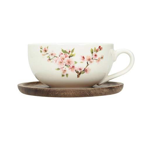 Dekoria Tasse mit Untertasse Sakura 250ml Geschenk Gluehwein Kaffebecher