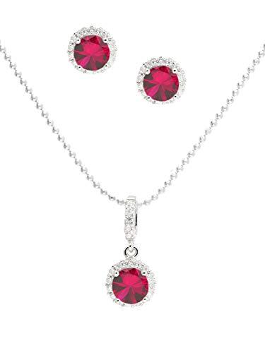 Juego de joyas para mujer (collar y pendientes) de plata de ley 925 completa con circonitas rojas, 45 cm Amazone Y-04570-S921-CZC-whi-CZC-red-F45 cm