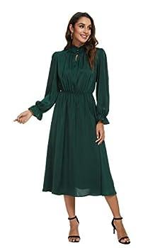 MopeMope Christmas Green Midi Dresses for Women High Neck Long Ruffle Sleeve Elastic Waist Pleated Front Dress  Dark Green Large