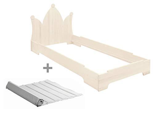 BioKinder Kai stapelbed stapelbed gastenbed met hoofdbordkroon en lattenbodem van massief hout grenen 90 x 200 cm wit gelakt