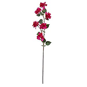 "Nearly Natural 47"" Bougainvillea Artificial (Set of 4) Silk Flowers, Orchid"