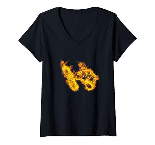 Femme Feu Corde Et Casque D Escalade Flammes Rocher Grimpeur T-Shirt avec Col en V